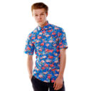 Риза с десен на син фон и птици фламинго изработена от Shirtwise