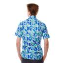 Риза на бледосин фон с десен на китове изработена от Shirtwise