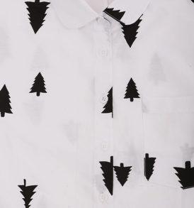 Риза с десен на борчета с дълъг ръкав и обла яка