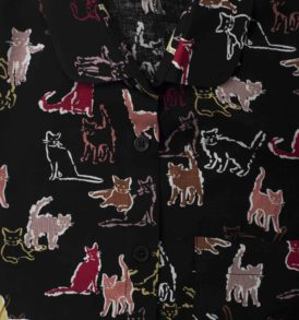 Cats print women shirt on black background