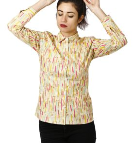 Women shirt with colour pencils