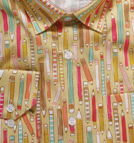 Мъжка риза с десен на цветни моливи