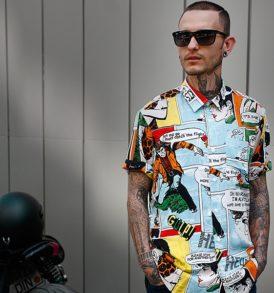 Men shirt with comics pattern