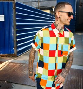 Men shirt with coloured squares