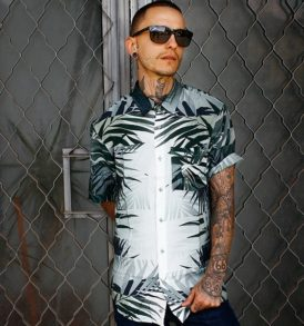 Men shirt with leaf pattern