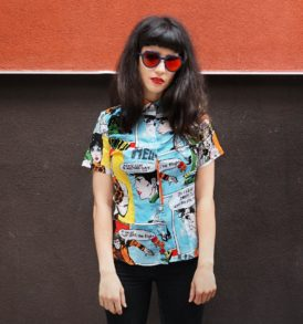 Women shirt with comics pattern