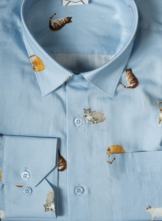 Men shirt with sleeping cats