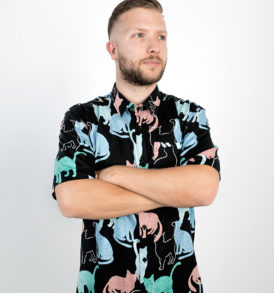 Colourful cats print men shirt